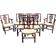 Set of 8 Mahogany Foliate Carved Chippendale Style Dining Chairs