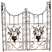 Pair of Polychrome Iron Garden Gates with Urn and Rose Decoration