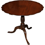 18th Century Georgian Mahogany Pie Crust Carved Tilt-Top Tea Table