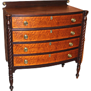 Federal Sheraton Bow Front Chest with Bird's-Eye Maple Drawer Fronts