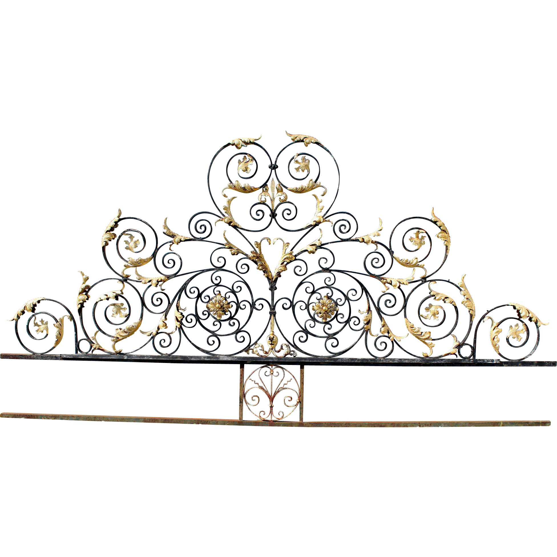 Monumental Victorian Style Iron Gate Crest with Gilt Foliate Highlights