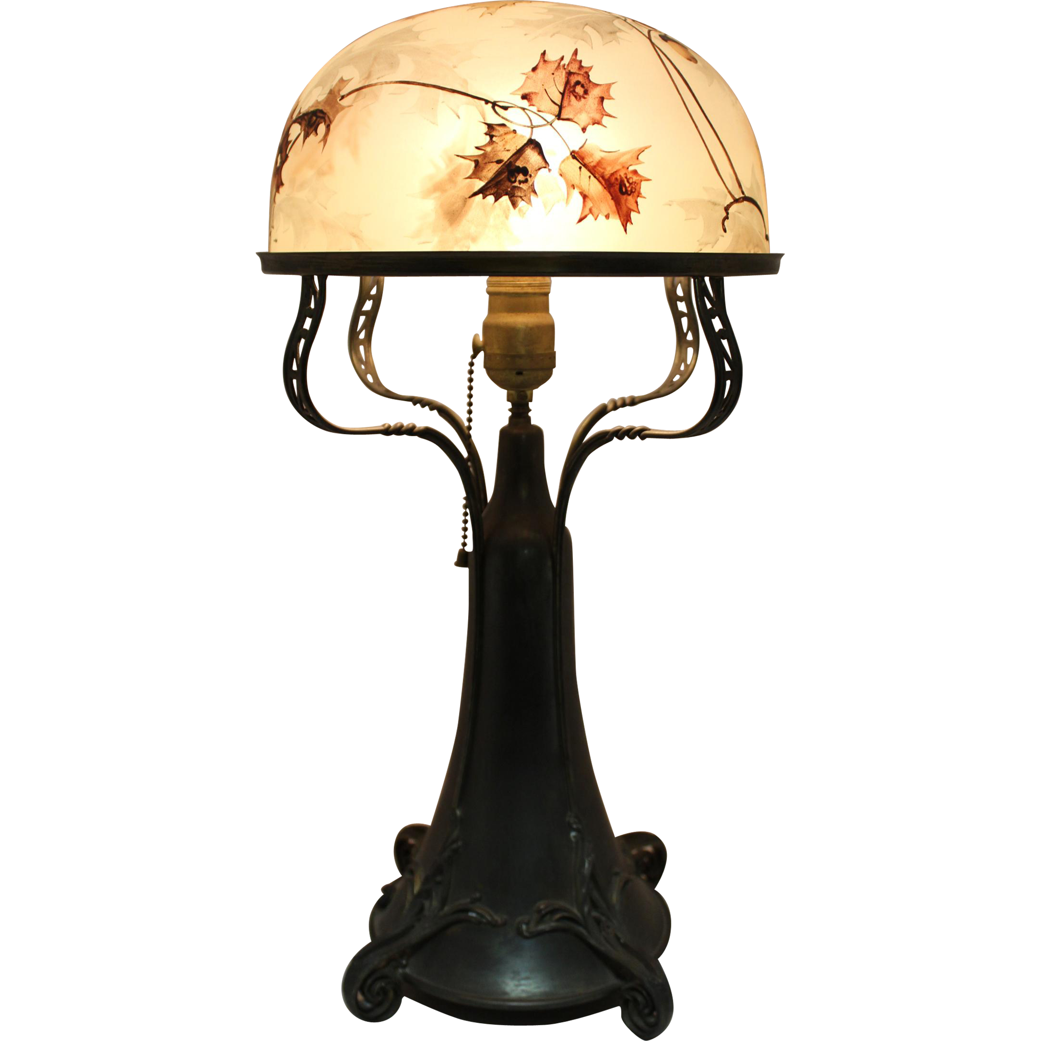 Art Nouveau Pairpoint Dome Shade Table Lamp With Oak Leaf