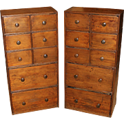 Pair of 19th Century Pine Multi-Drawer Apothecary Chests