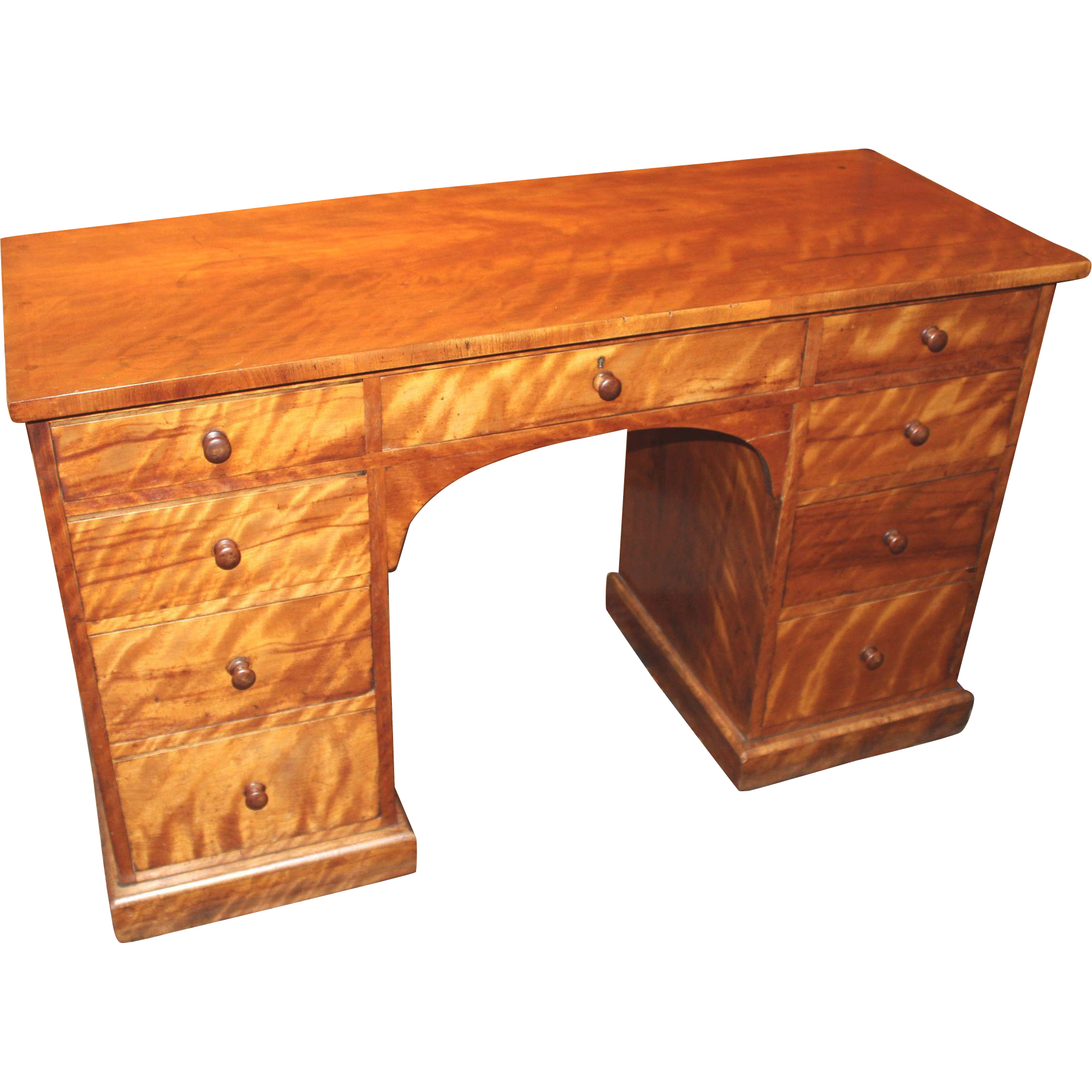 Late 19th Century Birch Pedestal Desk