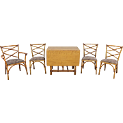 Mid Century Heywood Wakefield Ashcraft Rattan Dining Set with 4 Chairs
