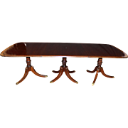 Mahogany Georgian Style Triple Pedestal Dining Table with Satinwood Banding