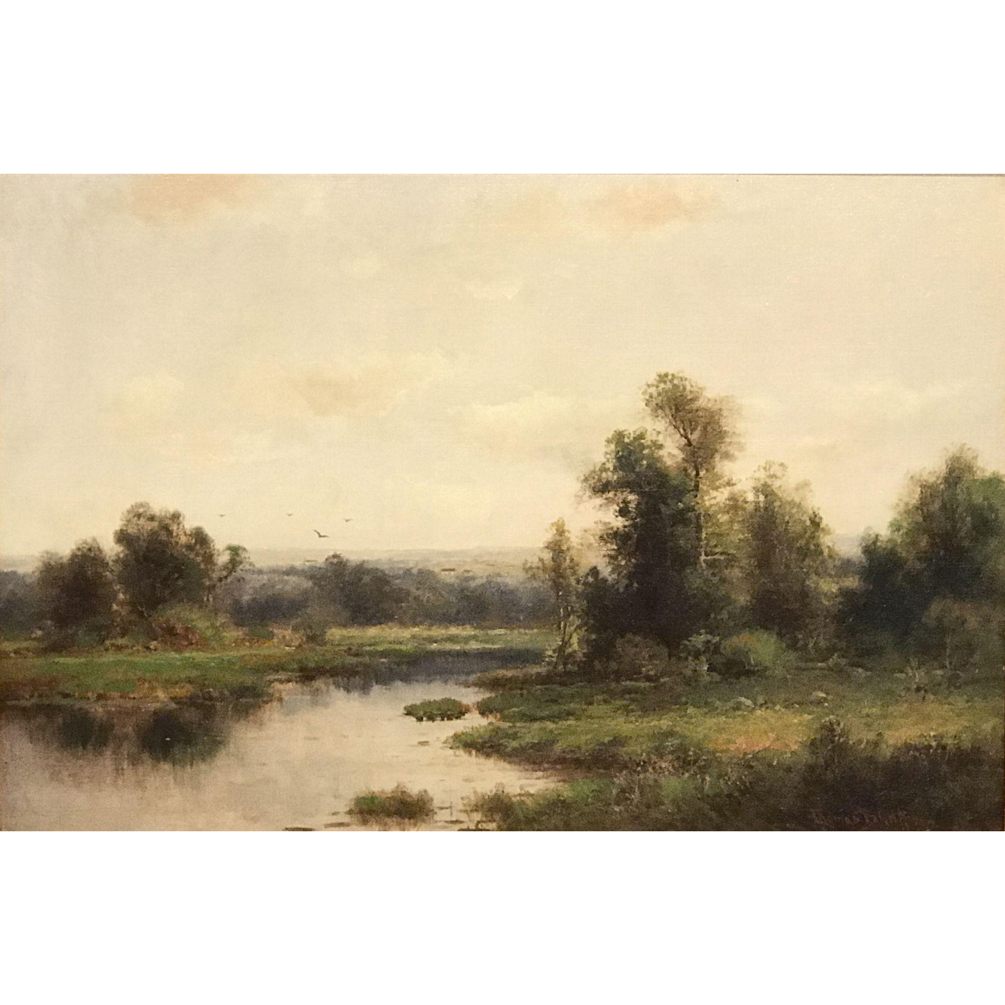 Thomas B. Griffin Oil Painting Impressionist Landscape of a Pond Scene
