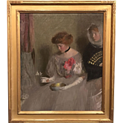 Louise Williams Jackson Oil Painting Portrait of Two Figures with Bowl and Fan