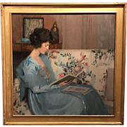Louise Williams Jackson Oil Painting Portrait of Woman Reading a Book on a Sofa