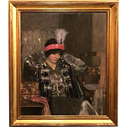 Louise Williams Jackson Oil Painting Portrait of Woman with Feathered Headband