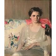 Louise Williams Jackson Pastel Portrait of a Woman on a Sofa, Mrs. Ryder