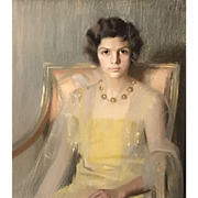 Louise Williams Jackson Pastel Portrait of a Seated Woman in a Yellow Dress