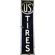 US Tires Vertical Enameled Porcelain Advertising Sign circa 1930