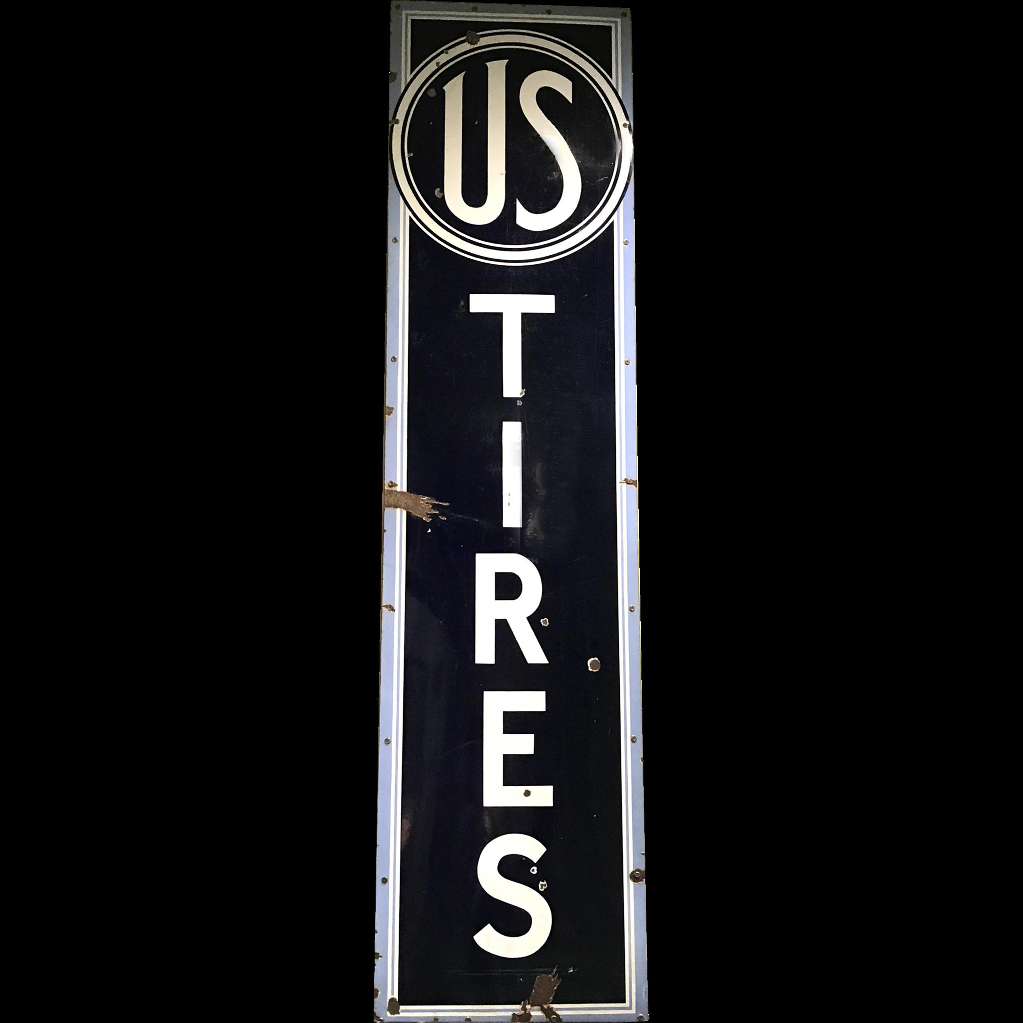 US Tires Vertical Enameled Porcelain Advertising Sign circa 1930