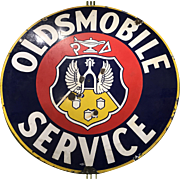 Oldsmobile Round Enameled Porcelain Advertising Sign circa 1940