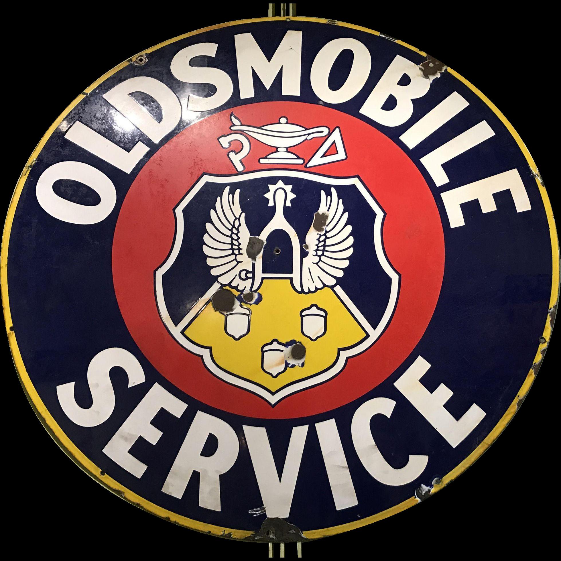 Oldsmobile Round Enameled Porcelain Advertising Sign circa 1940