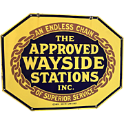 Approved Wayside Stations Double-Sided Porcelain Automotive Garage Sign. circa 1926-7