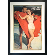 Large Framed Hayden Hayden Coca Cola Poster with Beach Bathing Couple 1935