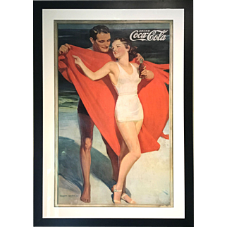 Large Framed Hayden Hayden Coca Cola Poster with Beach Bathing Couple 1935