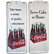 Pair of Porcelain on Metal Vertical Coca Cola Advertising Signs circa 1950's