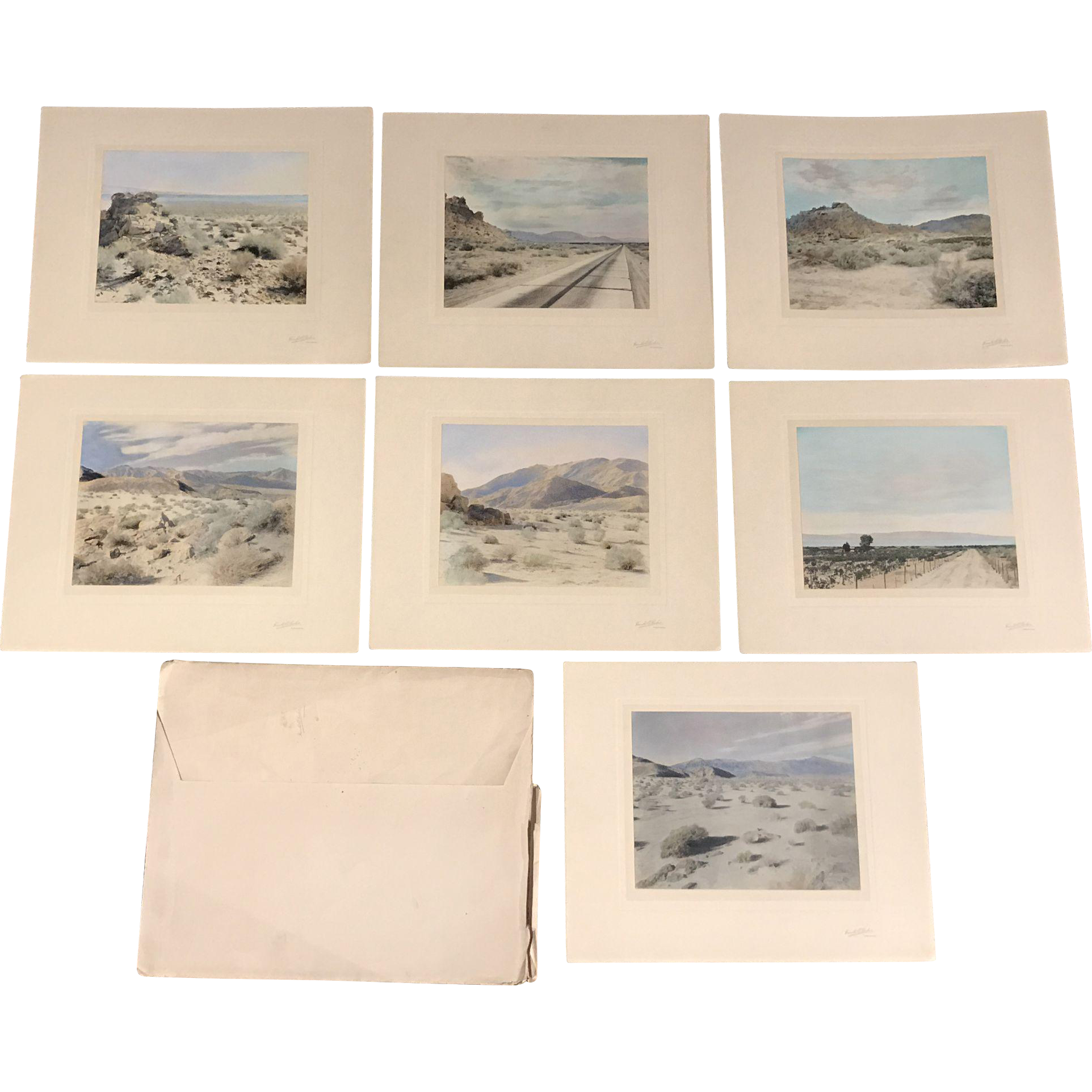 Set of 7 Harold A. Parker Desert Photographs with Original Folio