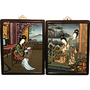 Pair of 19th c Chinese Framed Eglomise or Reverse Glass Paintings of Geisha Girls