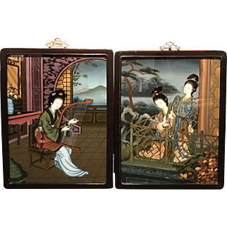 Pair of Chinese Framed Eglomise or Reverse Glass Paintings of Geisha Girls