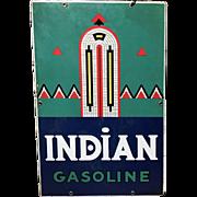 Indian Gasoline Porcelain Advertising Sign circa 1931-1943
