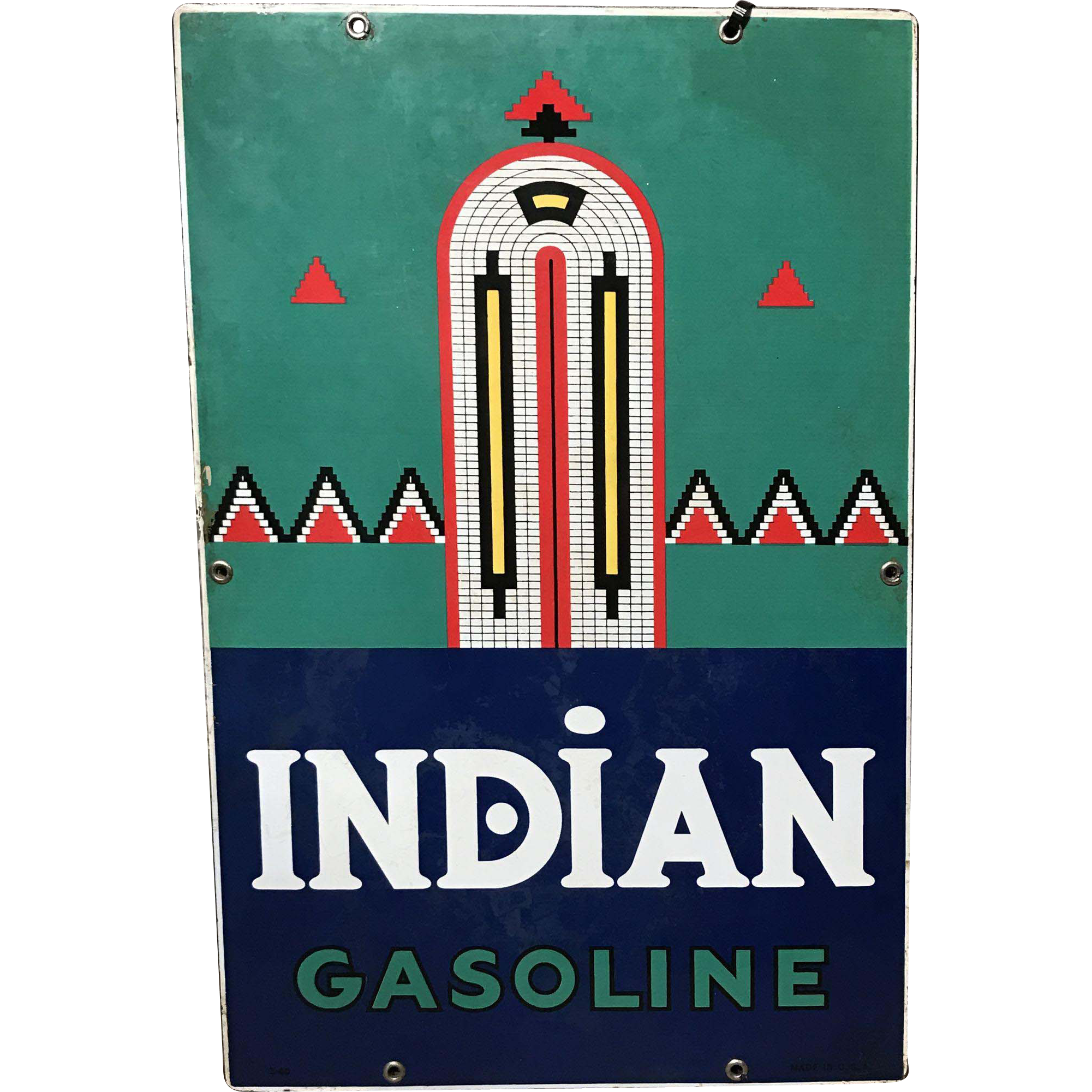 Indian Gasoline Porcelain Advertising Sign circa 1931-1943