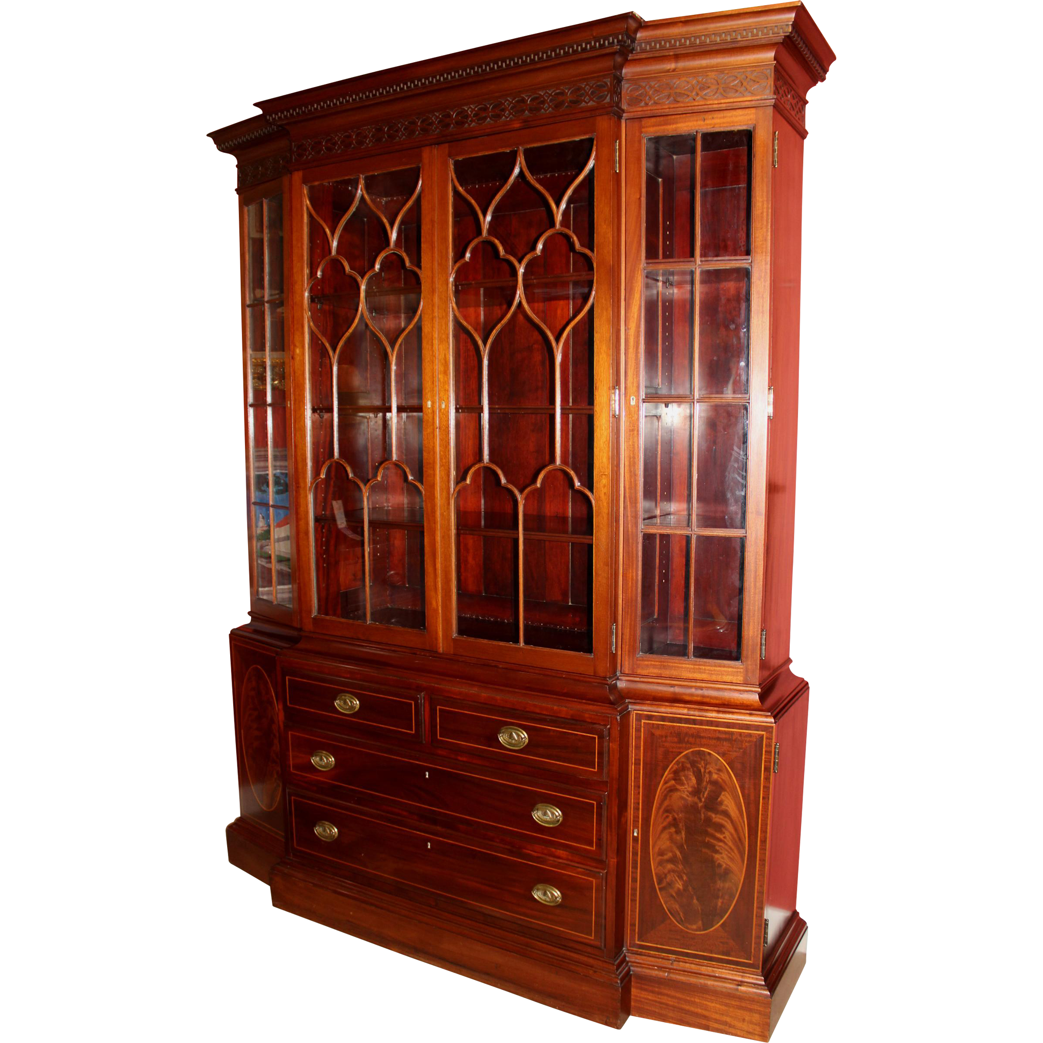 Georgian Style Mahogany Tall Proportion Breakfront Bookcase / China Cabinet