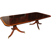 English Double Pedestal Mahogany Dining Table with Satinwood Banding