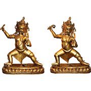 Early 20th c Pair of Gilt Metal Vajrapani Buddhist Sculptures