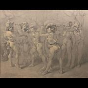 Italian Pencil / Conte Crayon Drawing of Commedia Dell' Arte Scene, circa 1930