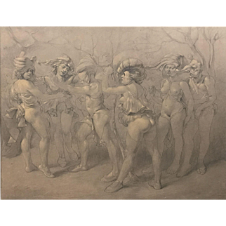 Italian Pencil / Conte Crayon Drawing of Commedia Dell' Arte Scene, circa 1930
