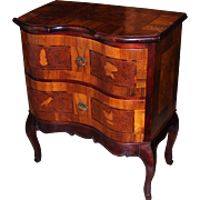 19th c Italian Walnut Veneer 2 Drawer Side Cabinet with Bird Inlay