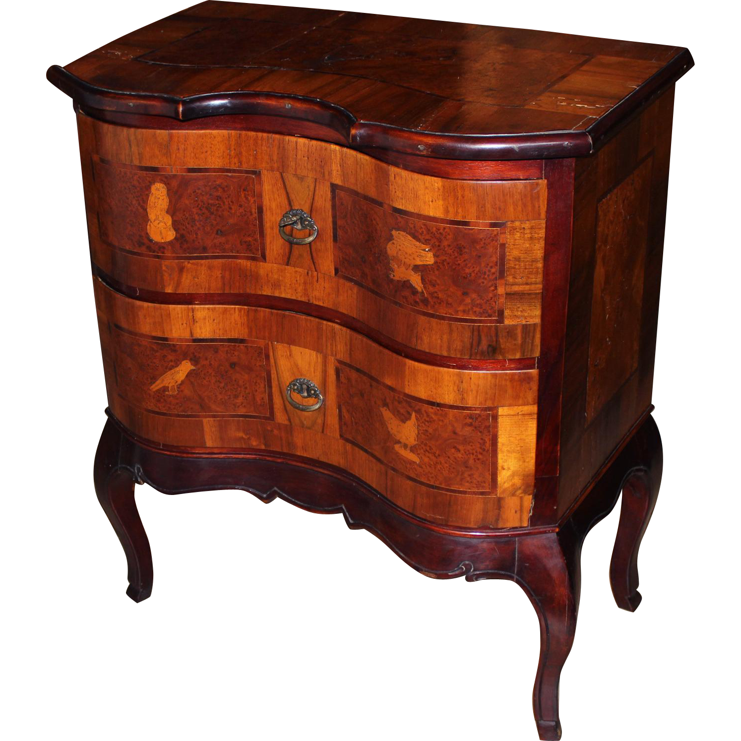 19th c Italian Walnut Veneer 2 Drawer Side Cabinet with Bird Inlay