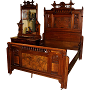 Two Piece Victorian Aesthetic Inlaid Walnut Bedroom Suite