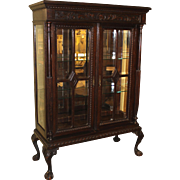 Large 19th / 20th c English Carved Oak Display Cabinet with Glazed Doors