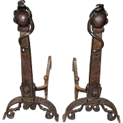 Exceptional Pair of Arts & Crafts Iron Andirons with Dragon Tops