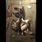Richard LaBarre Goodwin Trompe L'oeil Oil Painting, Hunting Cabin Door, circa 1890