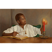 Mary Phillips Figural Oil Painting of a Young Boy - The Candle Snuffer