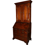 18th Century PA Walnut Two Part Secretary Desk with Secret Compartments