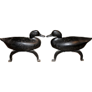 Pair of Cast Iron Duck Andirons,  Richard FH Clancey, Needham MA