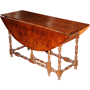 William and Mary Style American Tiger Maple Gateleg Table Fitted with Drawers