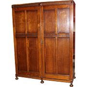 "Early 20th c English Oak Two Door Armoire or Wardrobe ""Aw-Ling"""