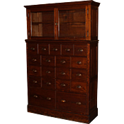 Large Two Part 19-Drawer Apothecary Chest or Cabinet with Glazed Door Top