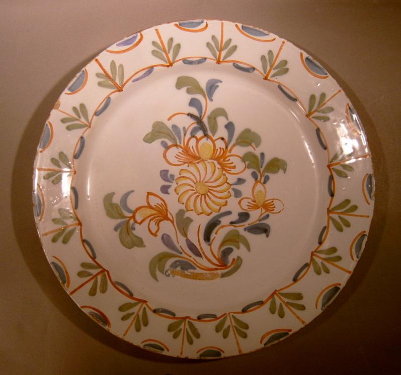 18th c. English Delft Pottery Polychrome Charger Plate