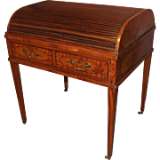 George III Metamorphic Elm and Satinwood Tambour Writing Desk, circa 1790