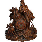 Monumental Black Forest Carved Mantel or Shelf Clock with Hunter and Dog