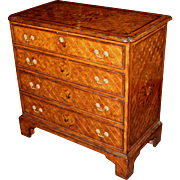 Diminutive English Four-Drawer Chest with Extensive Marquetry